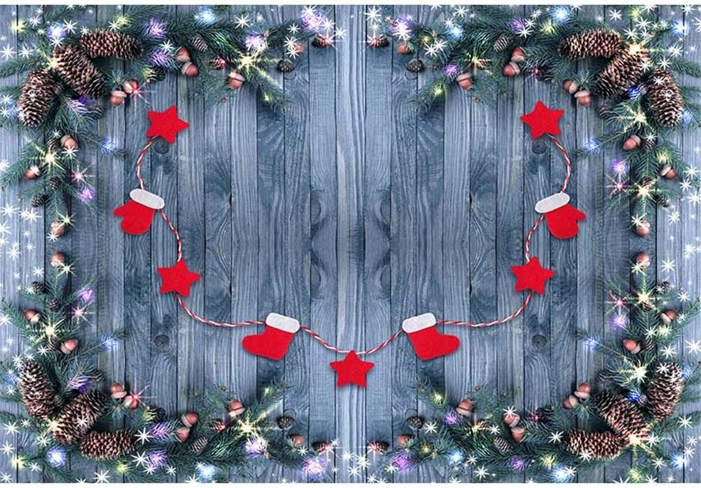 Photography Backdrop Grey Wood Floor for Baby 7x5 Glitter Christmas Arch Red Star Newborn Christmas Background for Pictures