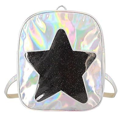 hot sale 2017 Batique Women Girls Hologram Star PU Leather Backpack School Casual Daypack Satchel Shoulder Bag
