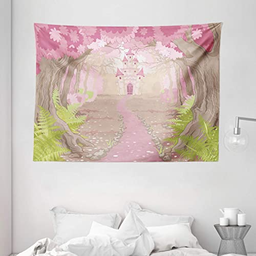 Ambesonne Feminine Tapestry, Fairy Tale Theme Princess Castle in Fantasy Forest Path Landscape Artwork, Wide Wall Hanging for Bedroom Living Room Dorm, 80 X 60 , Beige Green