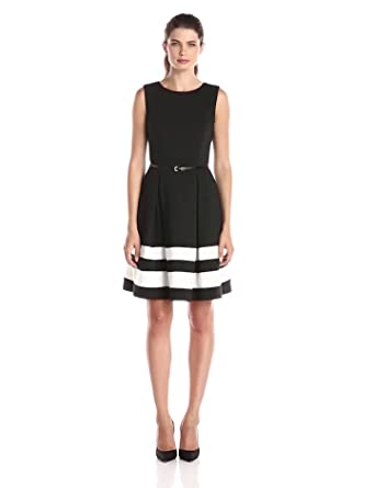 Calvin Klein Women's Fit and Flare Dress with Belted Waist, Black/Ivory, 2