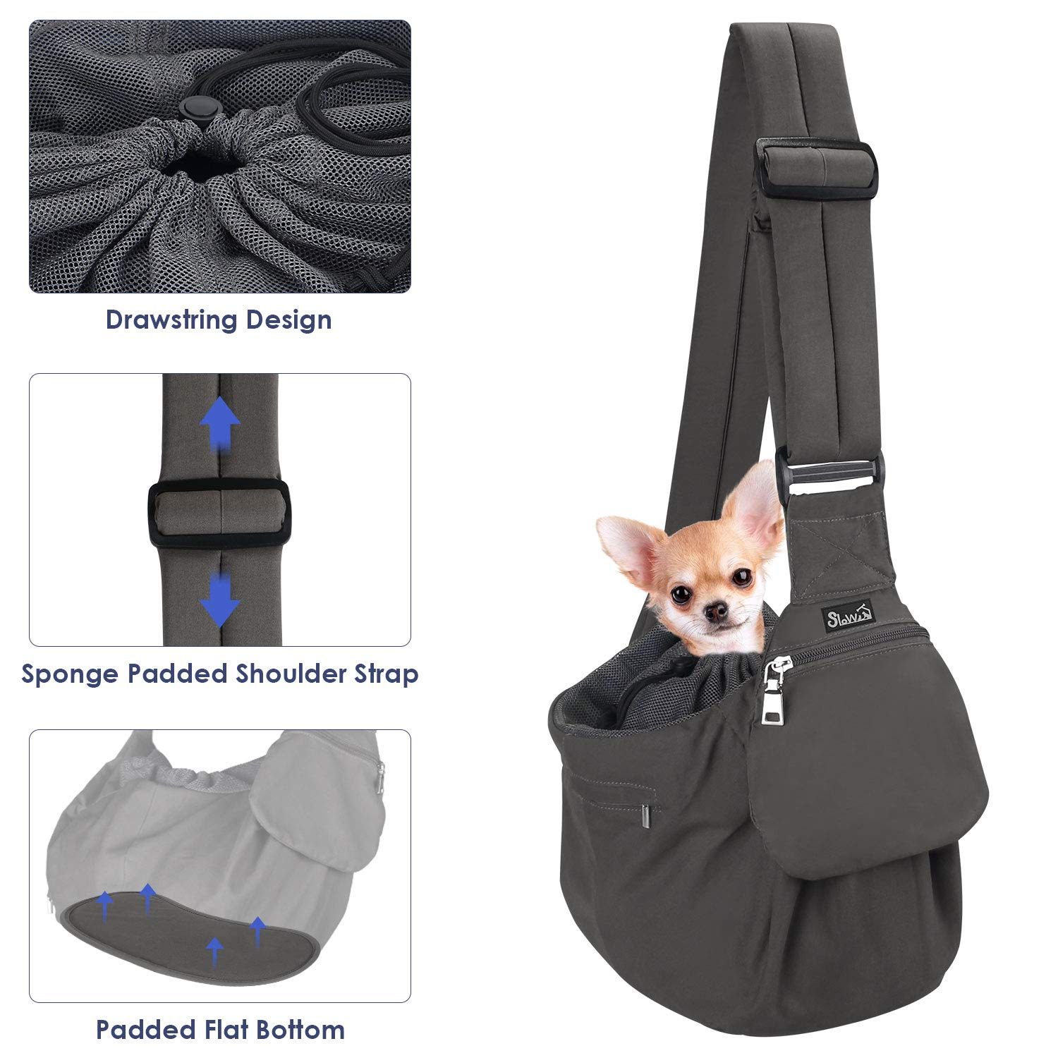 SlowTon Pet Sling Carrier, Dog Papoose Hand Free Puppy Cat Carry Bag with Bottom Supported Adjustable Padded Shoulder Strap and Bag Opening Front Zipper Pocket Safety Belt (Small, Grey)