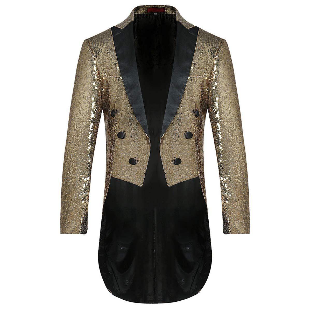 Mens Tails Slim Fit Tailcoat Sequin Dress Coat Swallowtail Dinner Party Wedding Blazer Suit Jacket Golden by Cloudstyle