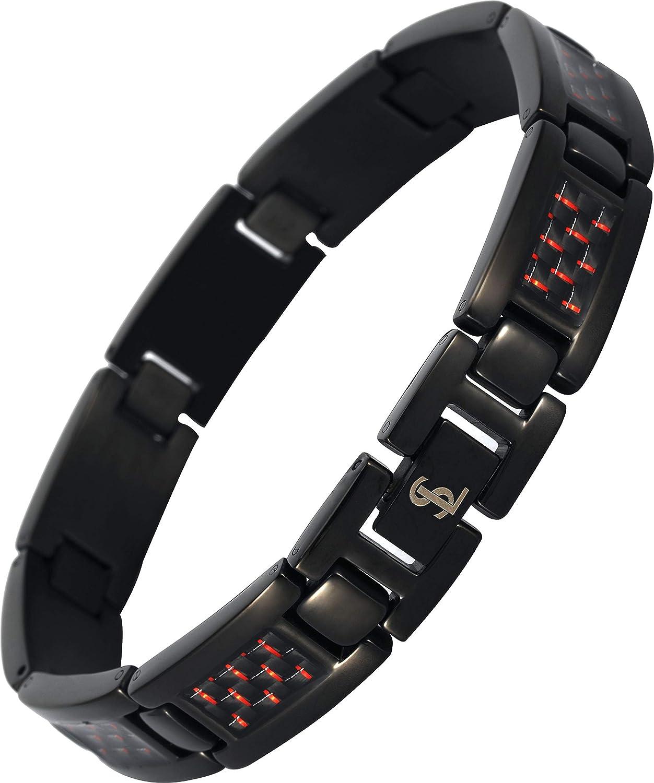 Smarter LifeStyle Elegant Surgical Grade Steel Men's Carbon Fiber Bracelet, Stylish Without Magnets Black Carbon Fiber)