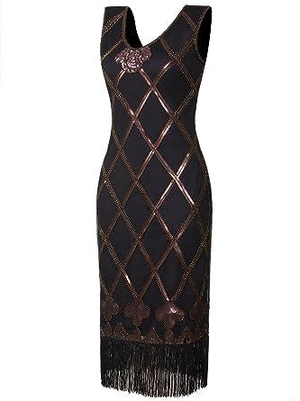 f43ba504d759 Vijiv Women 1920s Gastby Beaded Art Nouveau Embellished Fringe Flapper Dress