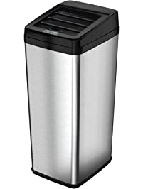iTouchless Sliding Lid Automatic Touchless Sensor Trash Can  14 Gallon /  52 Liter  Stainless