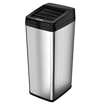 ITouchless Sliding Lid Automatic Touchless Sensor Trash Can U2013 14 Gallon /  52 Liter U2013 Stainless