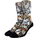 Good Luck Sock Men's Social Cats Socks - Black, Adult Shoe Size 8-13