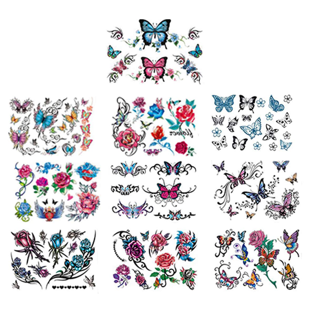 PEO Temporary Tattoos Stickers, 70 Sheets Flowers, Butterflies and Multi-Colored Mixed Style Body Art Temporary Tattoos for Women, Girls or Kids