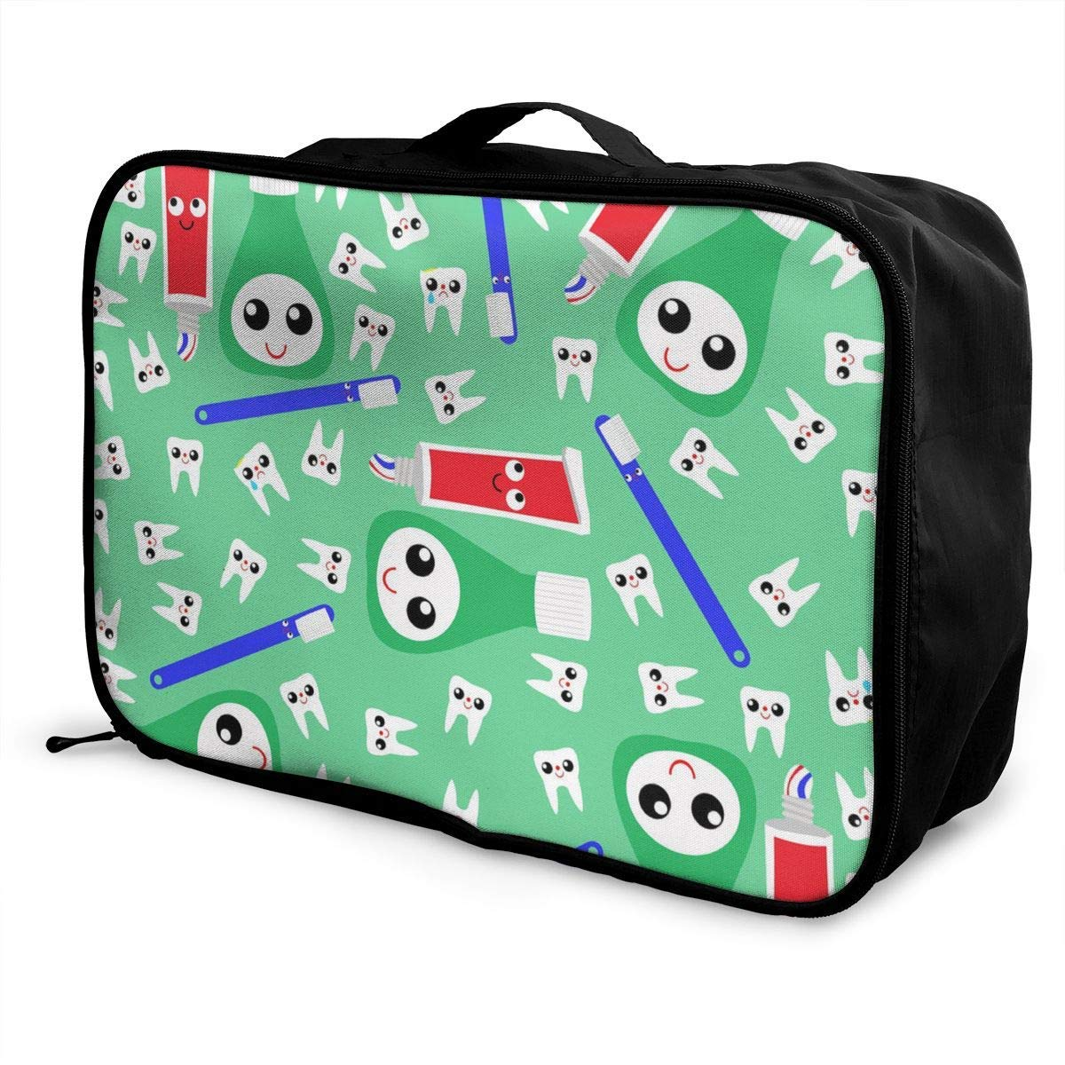 Travel Lightweight Waterproof Foldable Storage Carry Luggage Duffle Tote Bag Cute Teeth Toothpaste Green JTRVW Luggage Bags for Travel