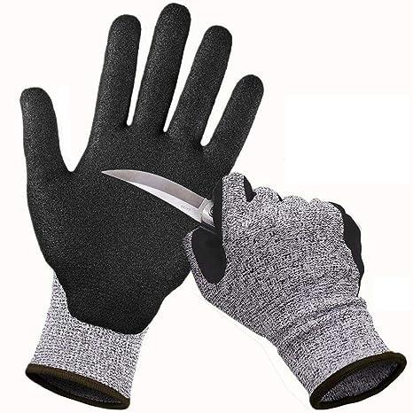 CCBETTER Schnittfest Handschuhe Level 5 Schutz Küche Handschuh  Sicherheitshandschuhe Arbeitshandschuhe für Schneiden (XL, Grau)