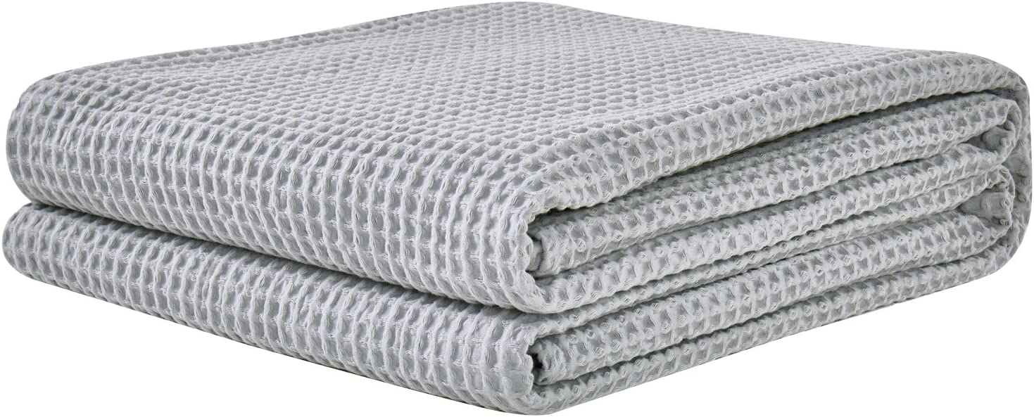 PHF Cotton Waffle Weave Bed Blanket Christmas Decorations Perfect for Bed Home Decor in Winter Queen Size Light Grey