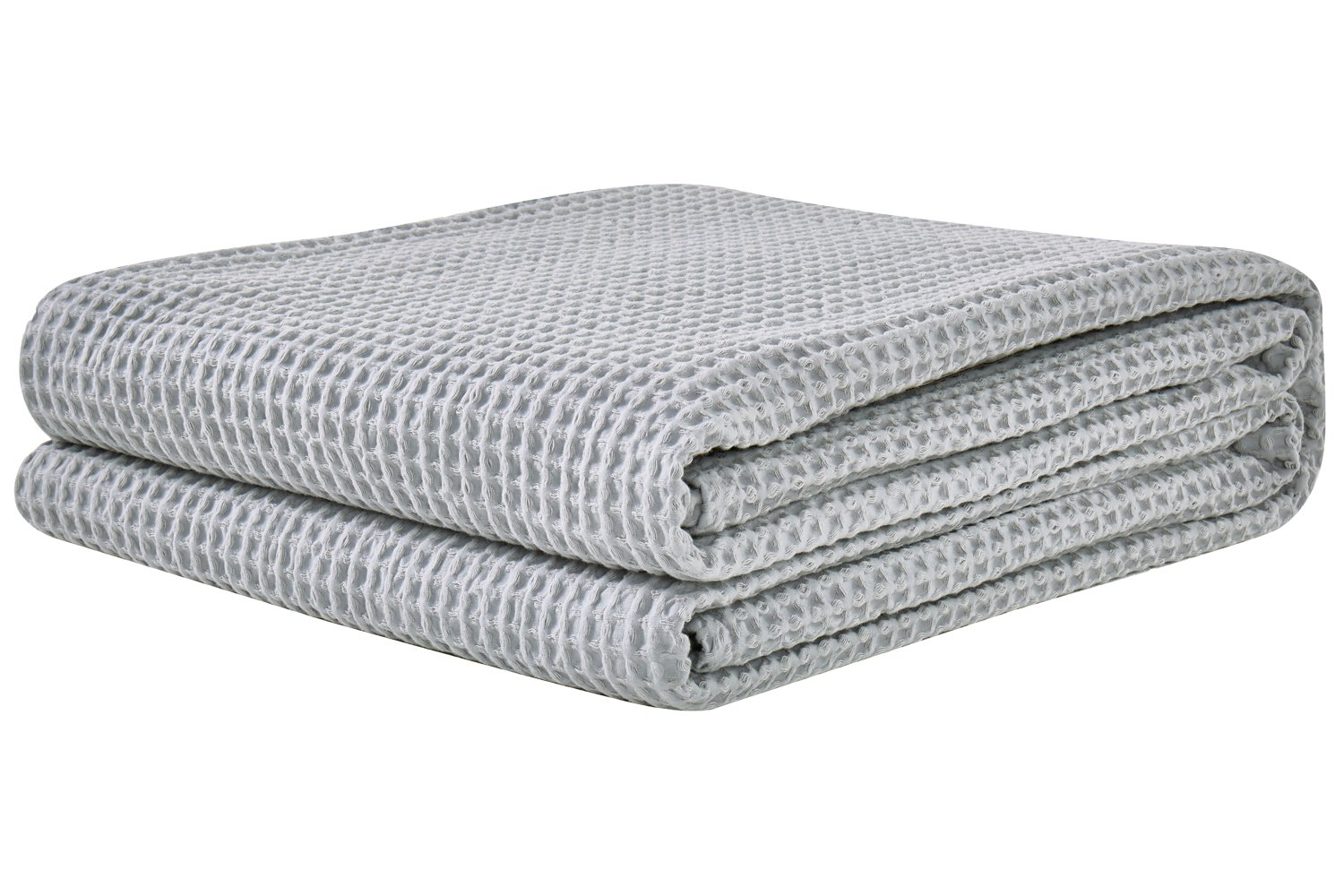 PHF Cotton Waffle Weave Bed Blanket Lightweight and Breathable Perfect Bed Home Decor Queen Size Light Grey