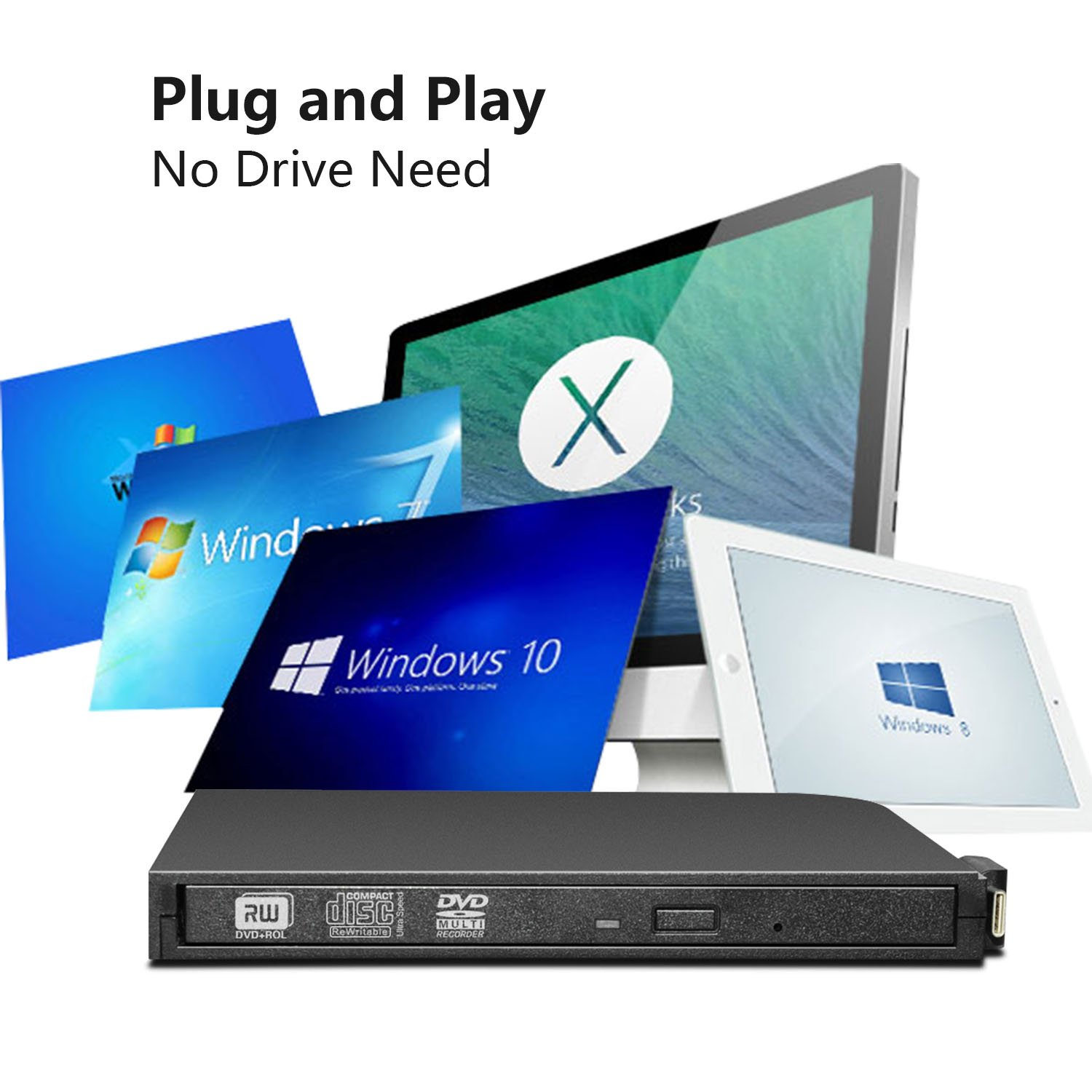 DVD Drive for PC DVD Drive computer CD Drive external dvd-rom player type-c external CD+/-RW buener USB portable DVD/CD ROM reader for various brands of desktops and laptops(not including tablets) by Juanery (Image #1)