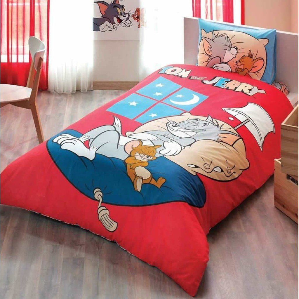 Tom & Jerry Good Night 3 Pcs Twin / Single Size %100 Cotton Duvet Cover Set Bedding Linens