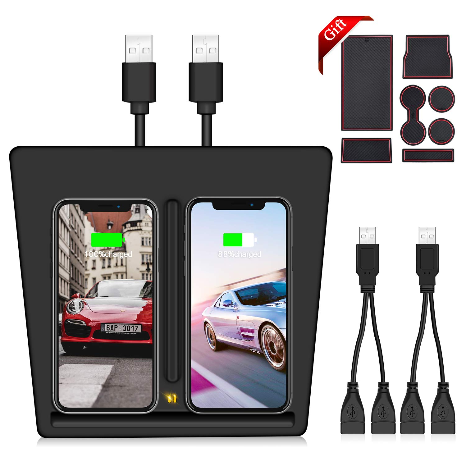 VXDAS Model 3 Wireless Charger, Dual QI Wireless Phone Charging Pad Car Center Console Wireless Charger Tesla Model 3 Accessories Panel with USB Splitter (7pcs Storage Mat Set) by VXDAS