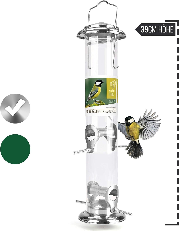 wildtier herz   Dispensador de comida de 39cm, columna de alimentación para pájaros, comedero para la alimentación de aves silvestres durante todo el año