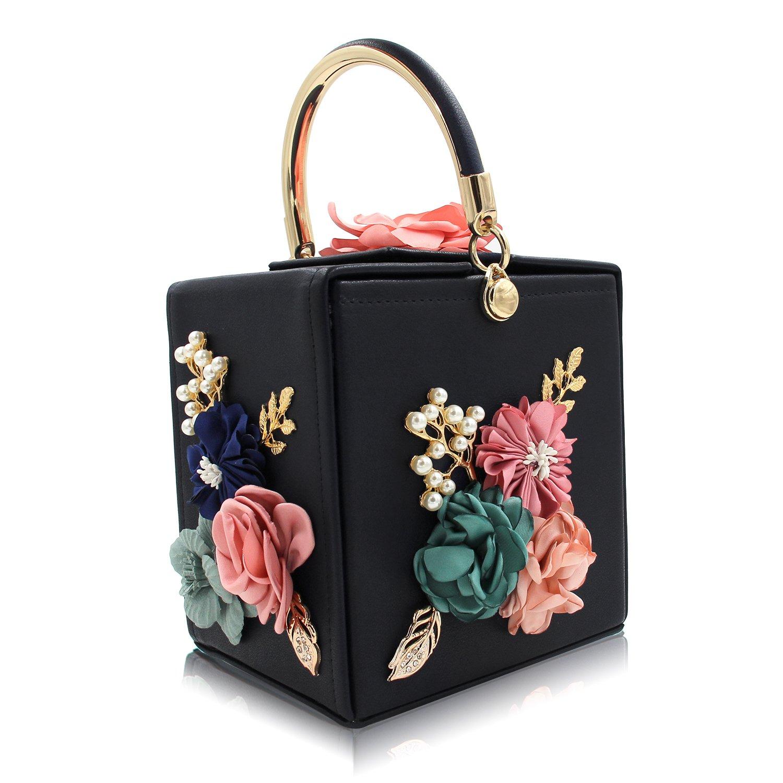 Milisente Women Clutches Flower Clutch Bag Box Clutch Purse Evening Handbag (Black)