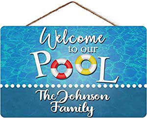 Auwozc Welcome to Our Pool Custom Family Name Home Wall Decor Personalized Wood Sign
