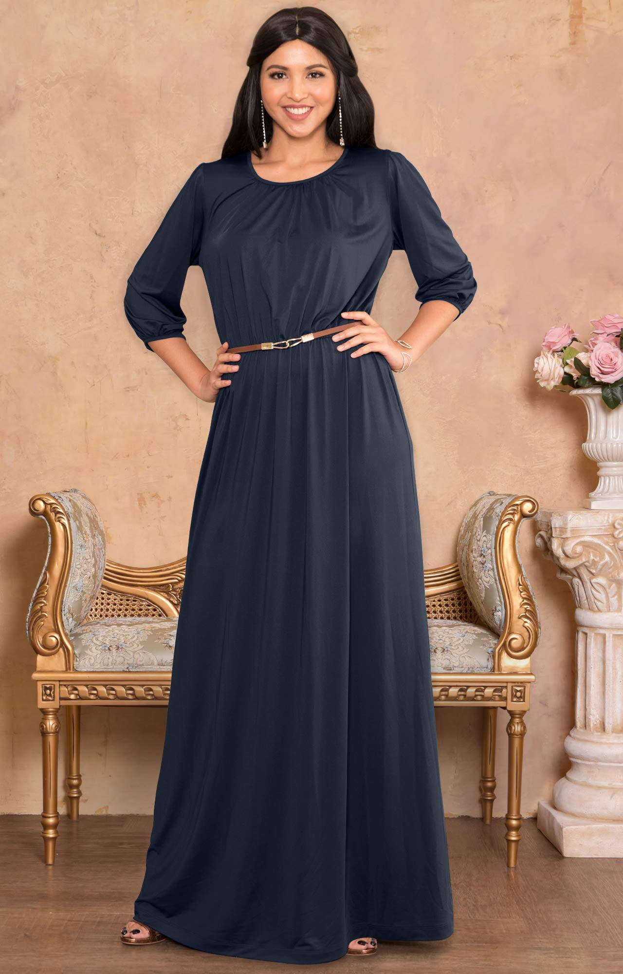 d91ee05d4bce KOH KOH Plus Size Women Long 3 4 Sleeve Sleeves Vintage Autumn Fall Winter  Flowy Formal Evening Work Office Modest Peasant Cute Abaya Gown Gowns Maxi  Dress ...