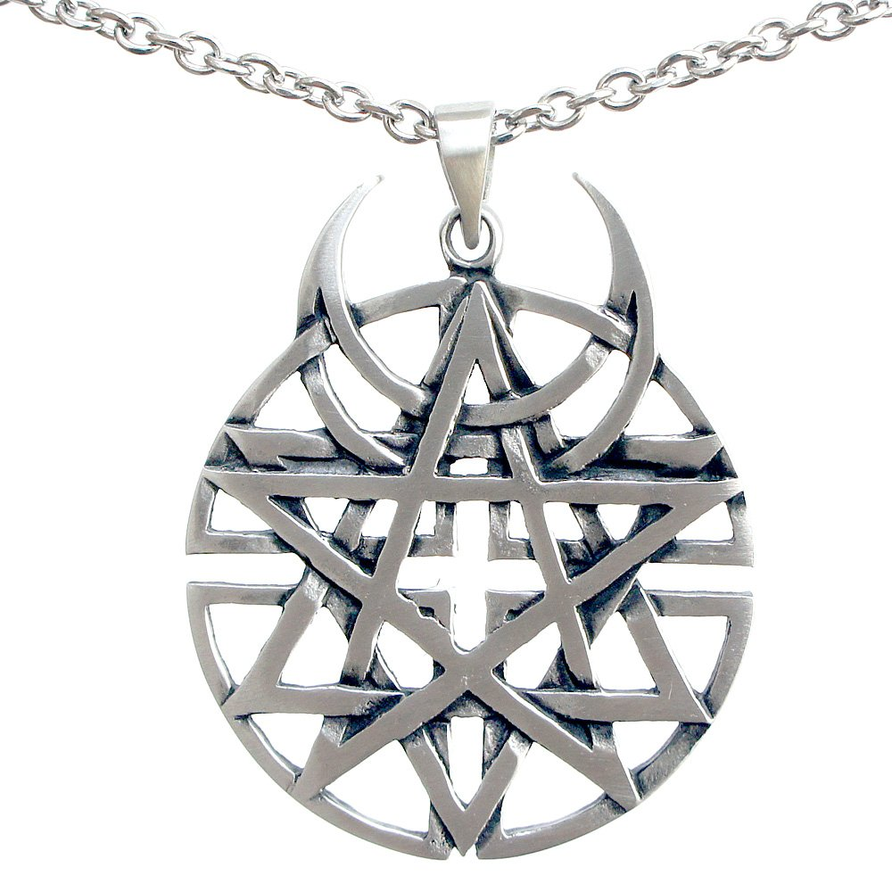 Unbiased Faith all religions Coexist Star Unbiased disturbed Pewter Pendant (Stainless Steel Chain)