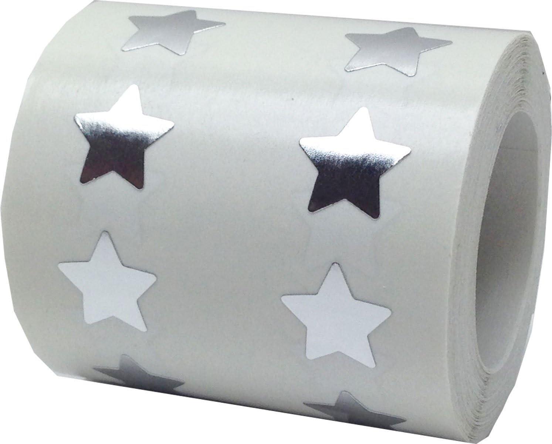 1000 Etichette su Rotolo 13 mm 1//2 Pollici di Larghezza Bianco Stella Adesivi