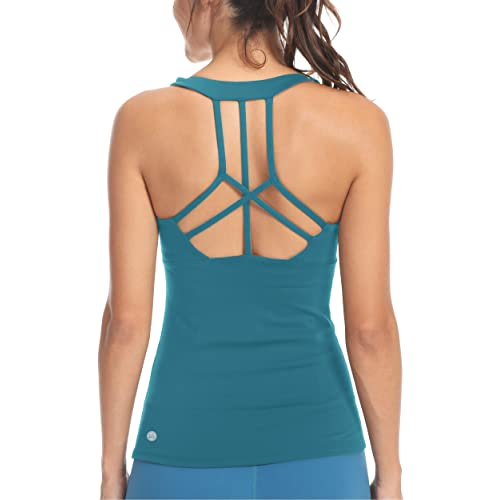 Queenie Ke Womens Yoga Sport Bra Light Support Strappy: Teal Top: Amazon.co.uk