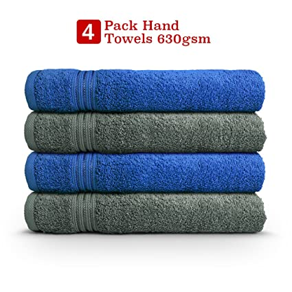 Swiss Republic Signature 4 Piece 630 GSM Cotton Hand Towel - Blue and Grey