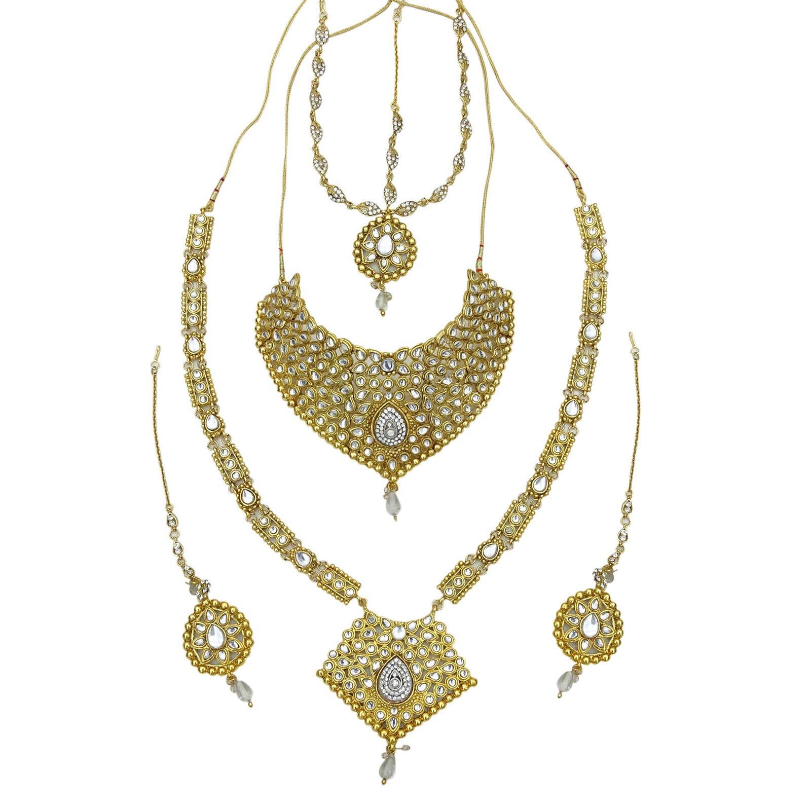 Banithani Traditional Designer Goldtone Bridal Necklace Set Wedding Jewelry Gift For Women