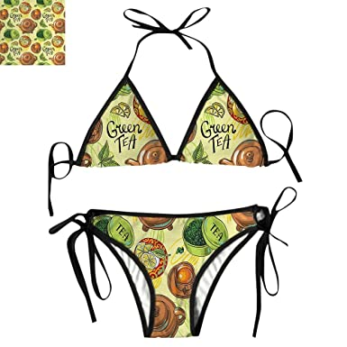 42f6501fdd Amazon.com: String Bikini Swimsuit for Women Set Lemon Slices Herbal:  Clothing