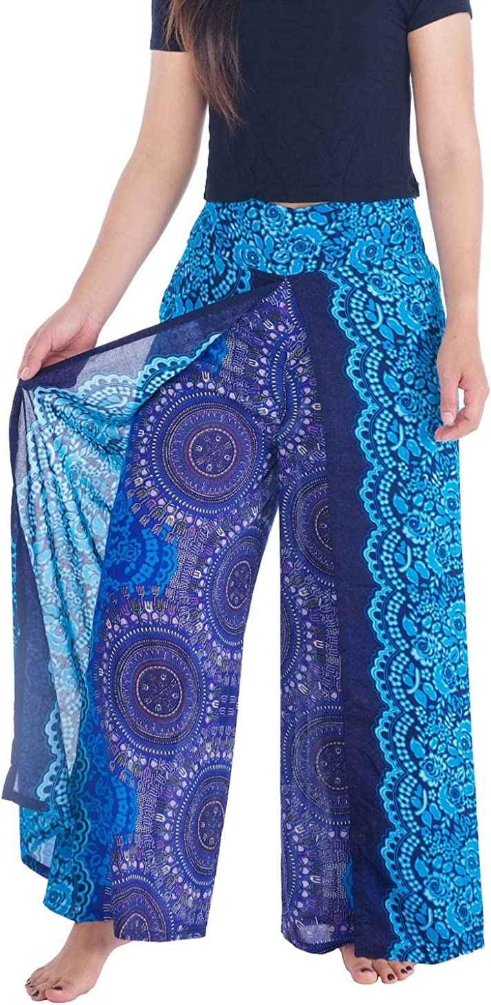 Lannaclothesdesign Womens 37 Inches Length Lounge Palazzo Pants Wide Legs S M L XL Sizes