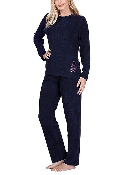 buy popular 38ed8 f2be5 Moonline Frottee-Schlafanzug für Damen mit Motivdruck