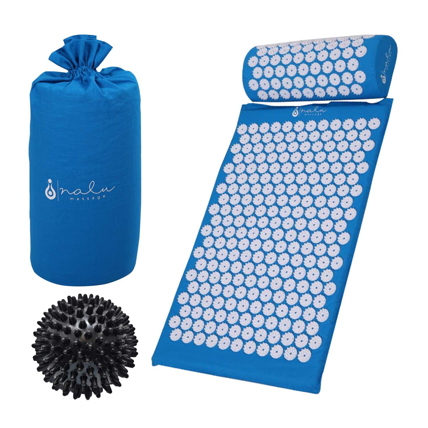 Acupressure Mat and Pillow Set + Spiky Reflexology Ball - Ebook and Wall Chart- for Sciatica, Chronic Back and Neck Pain, Fibromyalgia, Plantar Fasciitis and Stress Relief, Blue by Nalu Massage