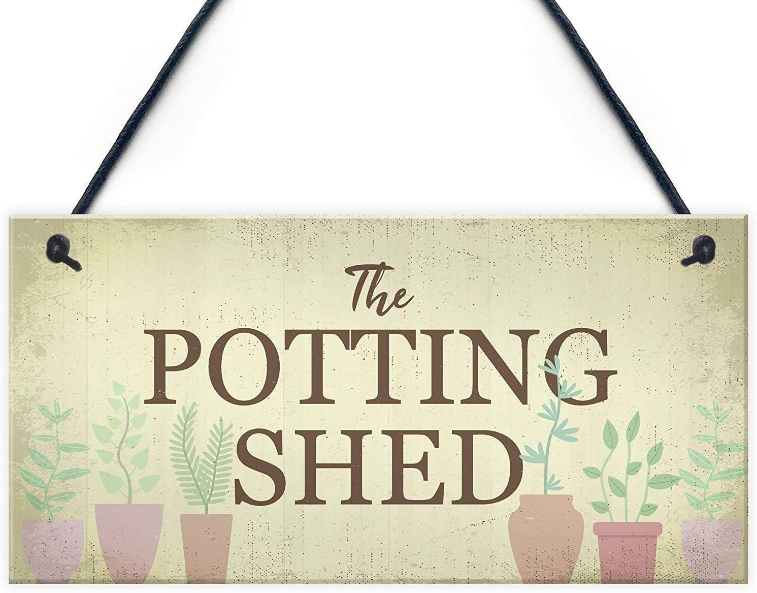 JIYUANDSY Wooden Sign New The Potting Shed Plaque Garden Greenhouse Sign Dad Grandad Mum Nan Birthday Gift12 x 6