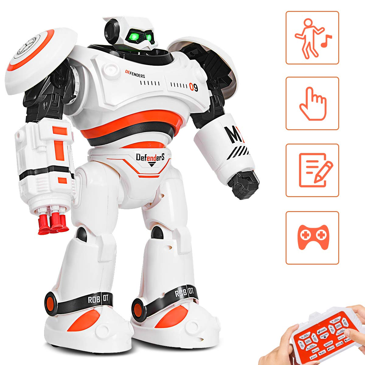 Costzon Remote Control Robot Toy, RC Programmable Robot for Kids Multi Function Shoots Missiles Flashing Lights Walks Dances Sounds, Smart Robotics for Children Boys Girls(Orange)