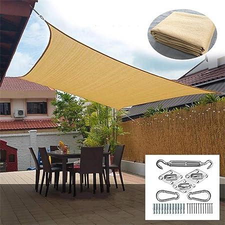 SHDT Cuadrado Amarillento Parasol Toldo Toldo De Vela con Acero Inoxidable Kit, 95% El Bloqueo UV, Agua Y Permeable Al Aire para Patio Patio Pergola,4.88 * 6M: Amazon.es: Hogar