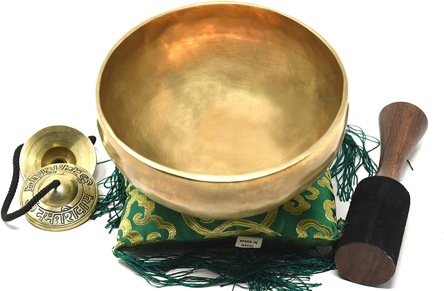 """7"""" Tibetan Singing Bowl ~ Superb B Crown Chakra Bowl for Meditation, Yoga, Healing, Mindfulness, Relaxation & Sound Therapy ~ Handmade Bowl with Wooden Mallet, Silk Cushion & Tingsha Cymbals included"""
