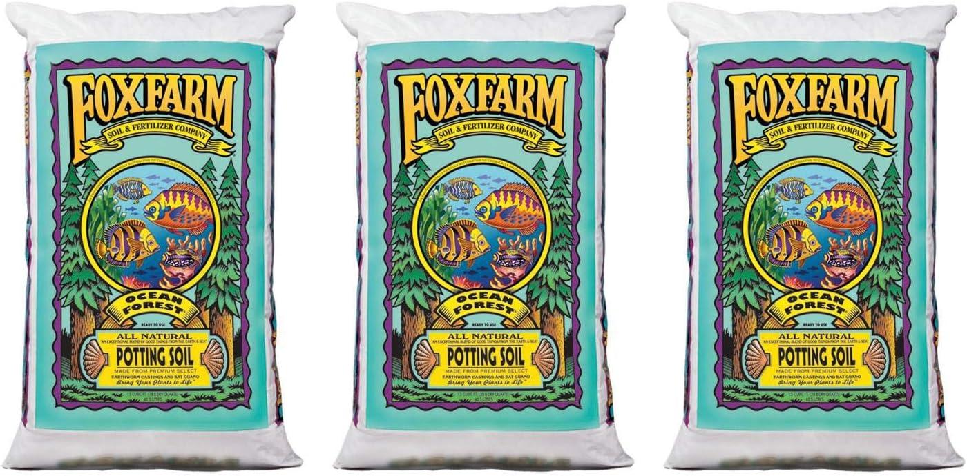 FoxFarm FX14000 Ocean Forest Organic Plant Garden Potting Soil Mix 1.5 cu ft, 40 Pounds (3 Pack)