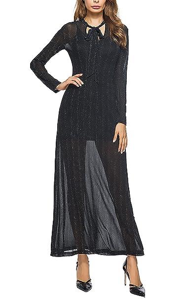 Mujer Vestidos De Fiesta Largos De Noche Vestido Elegantes Coctel Manga Larga Vintage Slim Del Vendaje