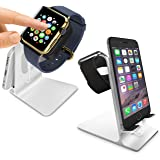 Orzly® - DuoStand Charge Station for Apple Watch & iPhone - Aluminium Desk Stand Cradle in SILVER with Built-In Insert Slots for both Grommet Wireless Charger and Lightning Cable for use as a fully functional Charging Dock for both your Apple Watch & iPhone Simultaneously - Fits iPhone Models: 5 / 5S / 5C / 6 / 6 PLUS and both 42mm & 38mm sizes of 2015 Watch Models (Original BASIC Model / SPORT Version / and EDITION Models)