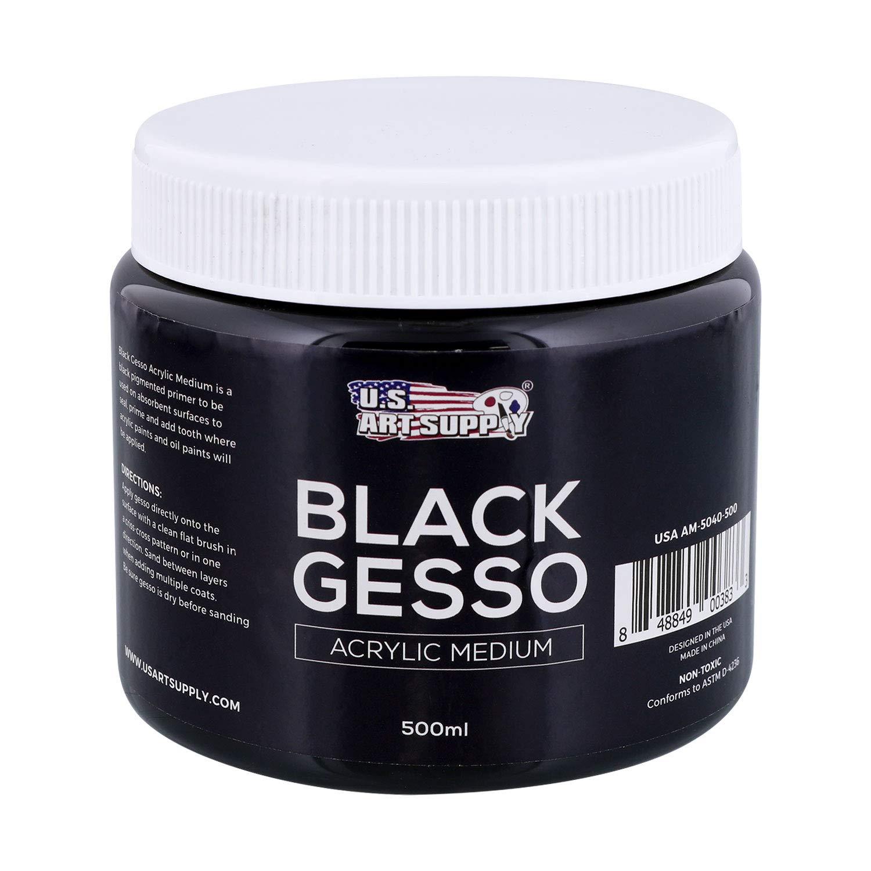 U.S. Art Supply Black Gesso Acrylic Medium, 500ml Tub