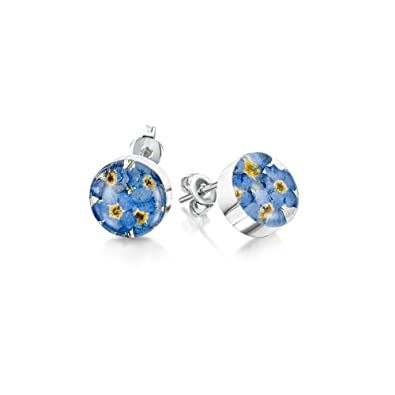 Sterling Silver Real Flower Stud Earrings - Forget-Me-Not - Round - in giftbox XNlSfd
