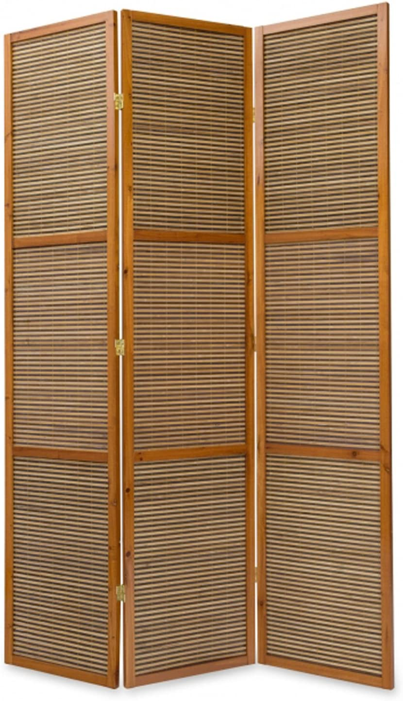 PEGANE Biombo de Madera Color castaño con bambú Especial Talla 2 m de 3 Paneles: Amazon.es: Hogar