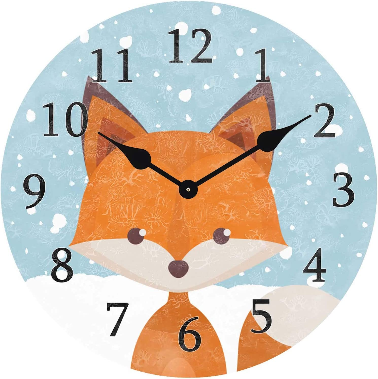 ATEDEANEI Silent Decorative Non-Ticking Wall Clock Snow Fox Wooden 10 Inch Wall Decor Battery Operated for Bedroom Living Room Kitchen Frameless