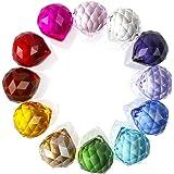 H&D 30mmカラフルプリズム水晶ボールペンダント サンキャッチャーパーツ インテリア飾り (12 個, カラフル)