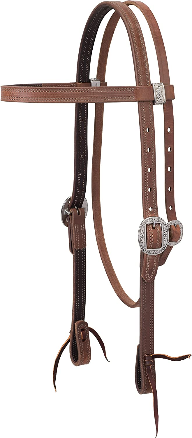 Weaver Leather ProTack Chap Lined Harness Leather Browband Headstall 10-0249-Parent