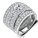 Amazon Price History for:Hiyong Princess Cut Wedding Rings Set - Square Cluster CZ Enhancer Guard 3pcs Halo Bridal Bands Size 6-9