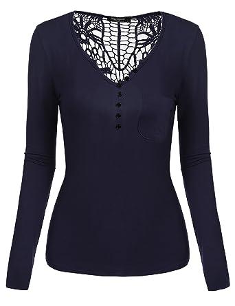 82789d1fe9275 Zeagoo Damen Langarmshirt Tight Bluse Tops Shirt mit Makramee-Spitze am  Zurück, V Neck