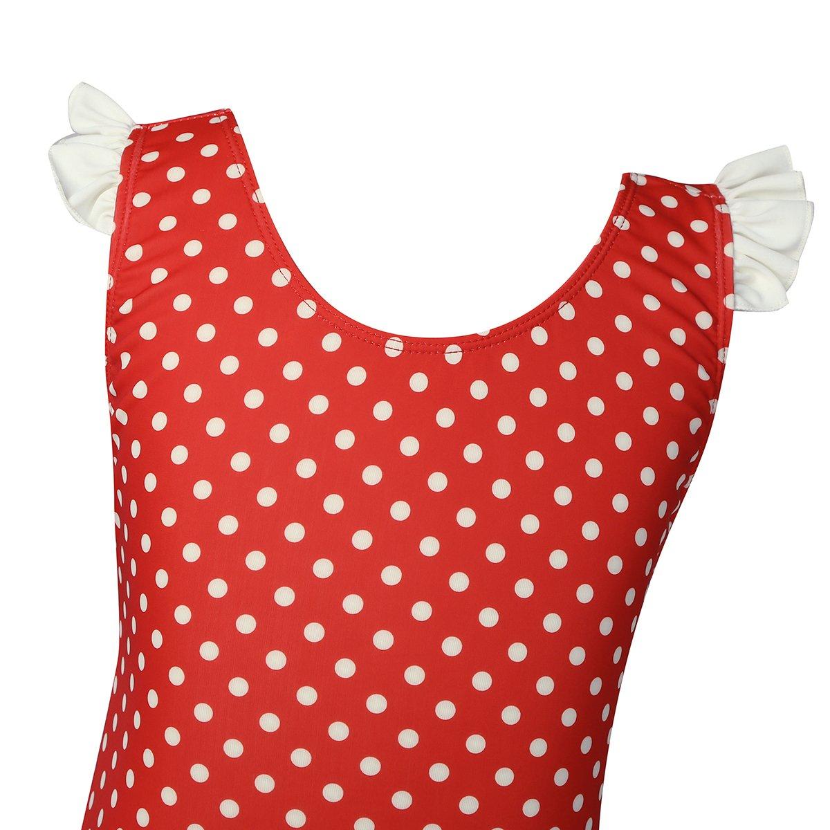 ranrann Girls One Piece V-Back Sleeveless Swimsuit Ruffle Bowknot Polka Dots Swimwear Bathing Suit