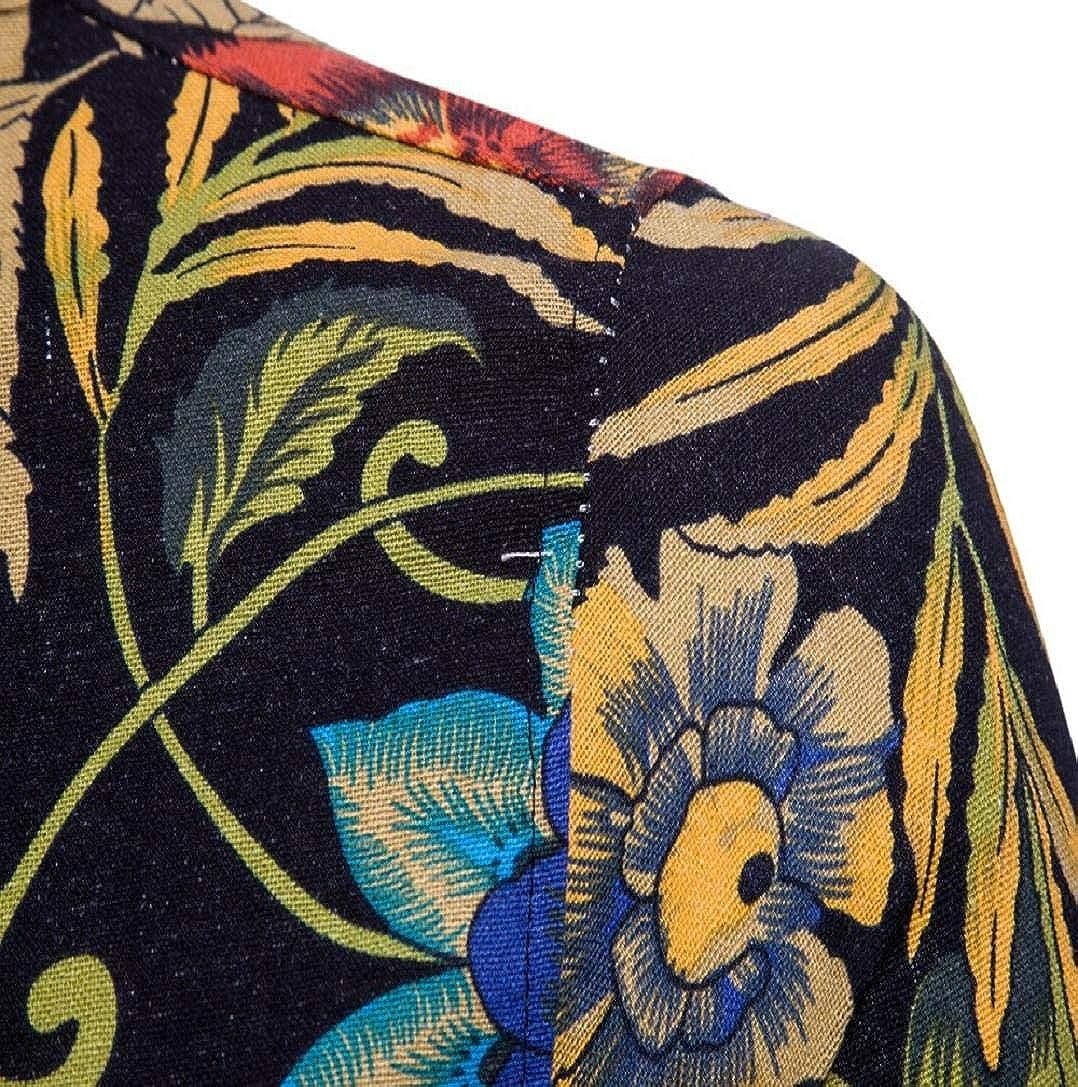 GreatFun Shirt Men Summer Floral Short Sleeve Linen Basic T Shirt Blouse Top Plus Size Casual Shirts Creative Cotton Short Sleeve Summer Sports Slim Fit Thin