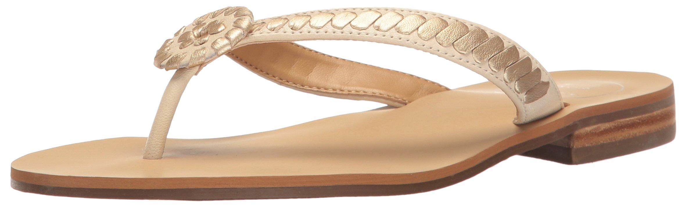 Jack Rogers Women's Ali Dress Sandal, Bone/Gold, 6 M US